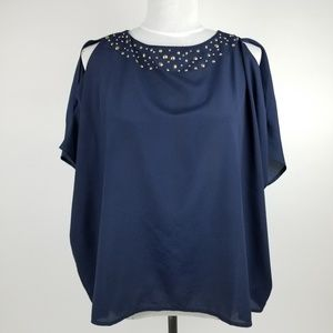 Lilly Pulitzer Trace Top Navy Blue Blouse